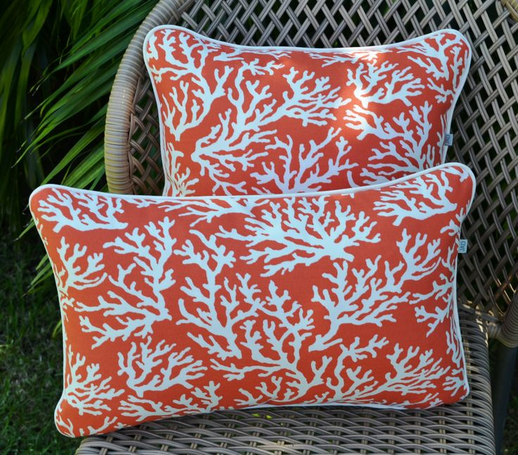 "Outdoor cushion cover . Coral . Orange . Beach . Ocean Theme . Seaside .  45 x45cm ( 18"") Nautical by JulieAlvesDesigns on Etsy"