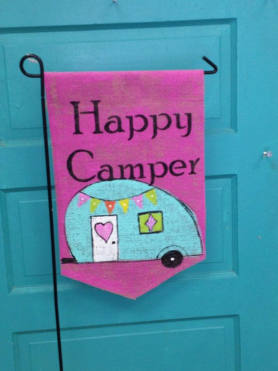 Hey, I found this really awesome Etsy listing at https://www.etsy.com/listing/192732332/happy-camper-burlap-yard-flag
