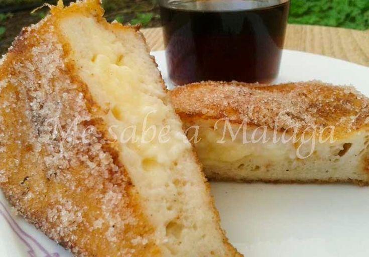 Me sabe a Málaga: Torrijas de vino dulce de Málaga rellenas de crema pastelera