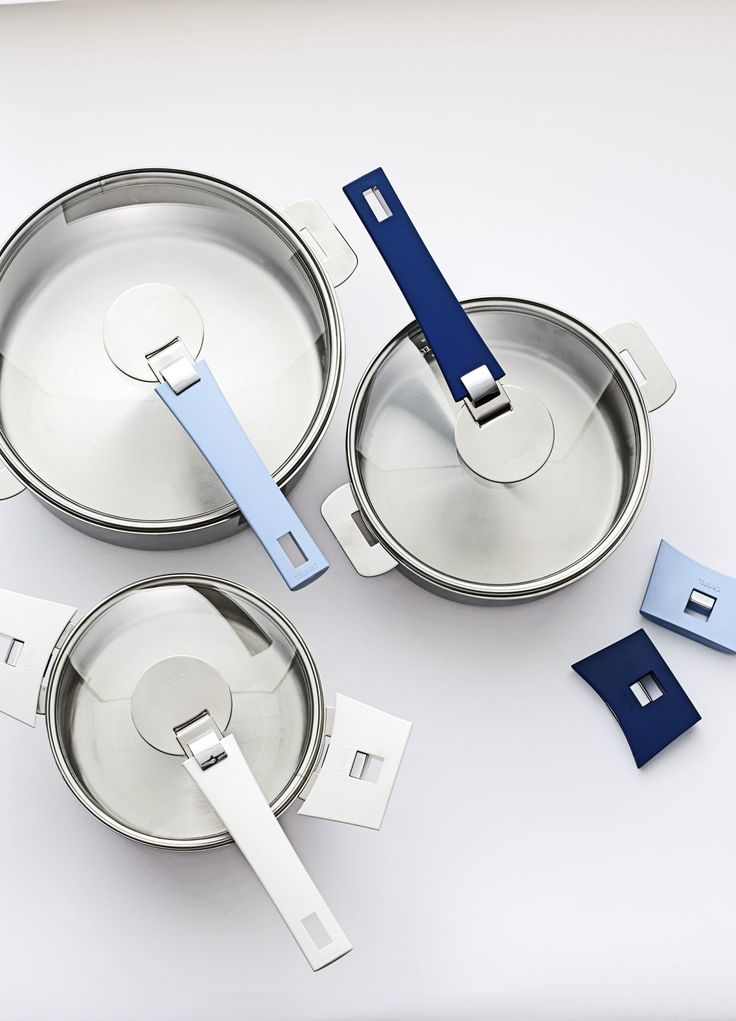 Cristel's new stackable cookware line, Mutine, has detachable handles in nine colors that will free up space under the counter — and coordinate with dishware or towels. $50 for a set of three handles, metrokitchen.com - HouseBeautiful.com
