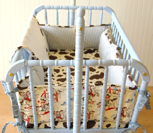 Cute vintage cowboy bedding for baby boy