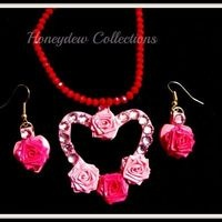 Valentine's Day Special Pink Heart Neck N Ear Set $16