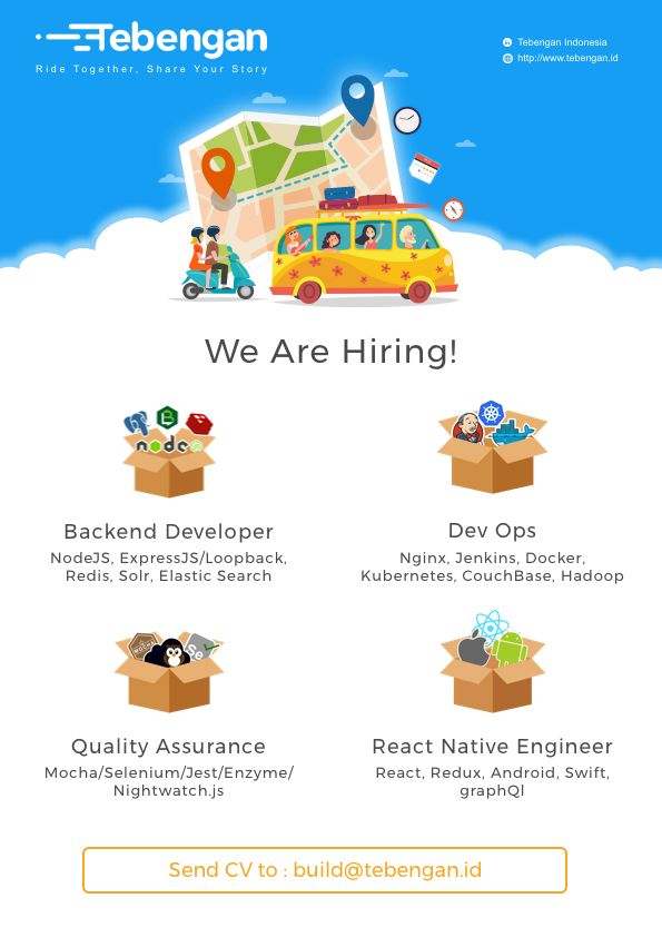 Sama Satu Jalan (Tebengan) is LOOKING for Developer, Project Manager, Engineer, Digital Marketing and Customer Service >> http://bit.ly/2sMuzRq   DEADLINE: 22 March 2018 #itbcc #karirITB #ITBcareer