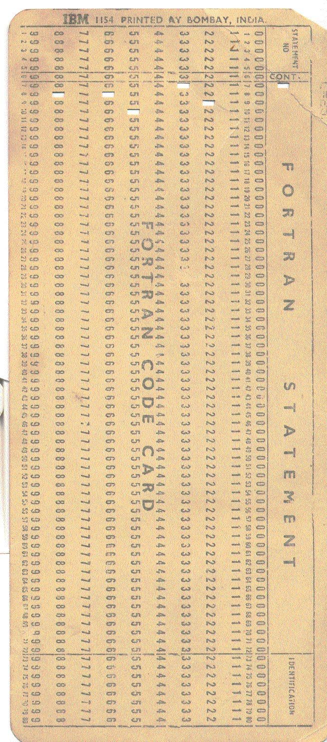 computer punch cards | Fortran Statement on Fortran Code Card (Punch Card)