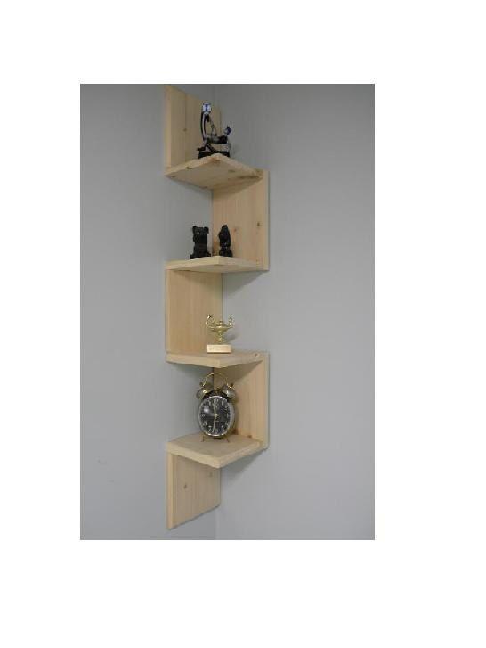 creative shelves: Wall mounted corner shelf Retro 4 tier shelf $40 by CustomWoodConcepts  via Etsy 81877485