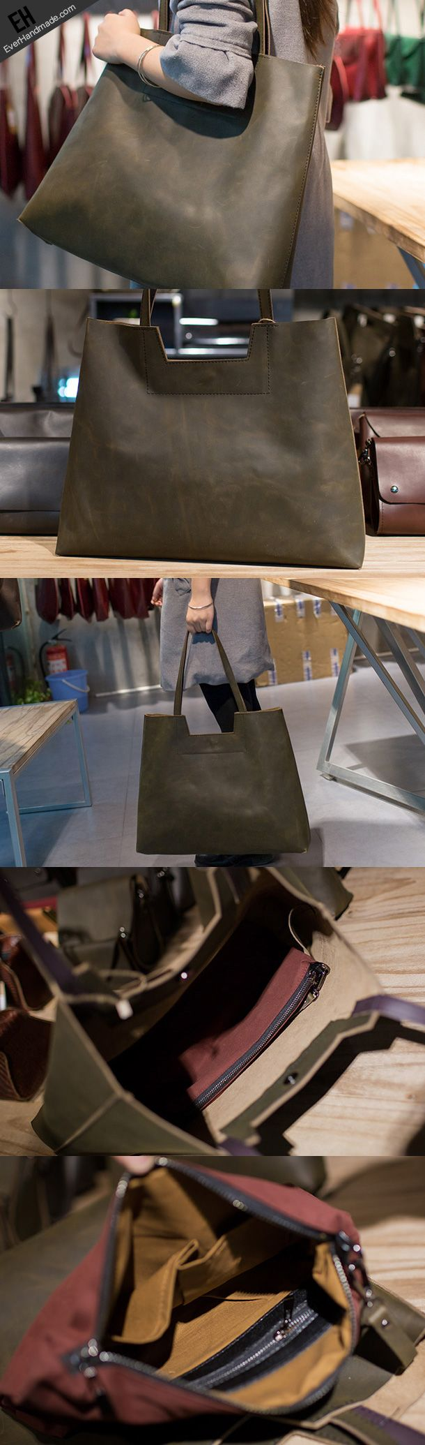 Handmade Leather Big Large tote bag dark green for women leather shoulder bag