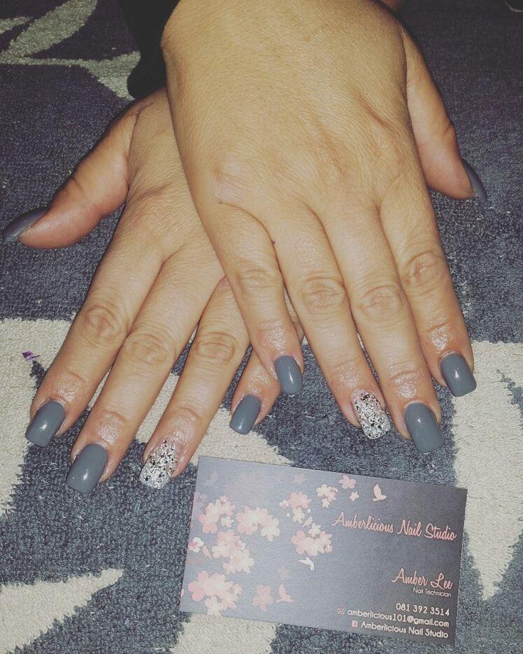 Acrylic nails | Grey gel polish | granite accent nails | Lexy Of London | winter nails