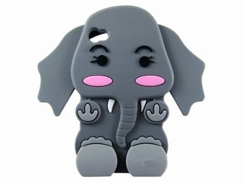 cool Cute Phone Cases | Cute 3D Cartoon Elephant Silicone Case Cover Skin for iPhone 4 4S Gray