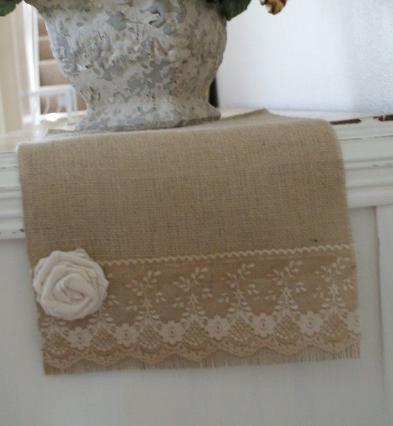 burlap and vintage lace table runner