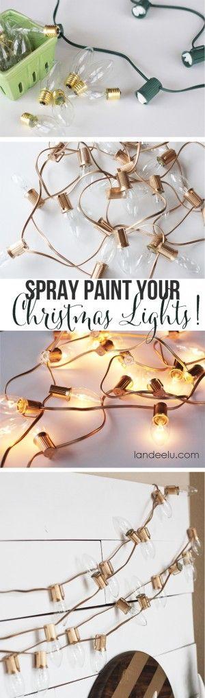 Spray Paint gold Christmas Lights   25+ Oscar Party Ideas