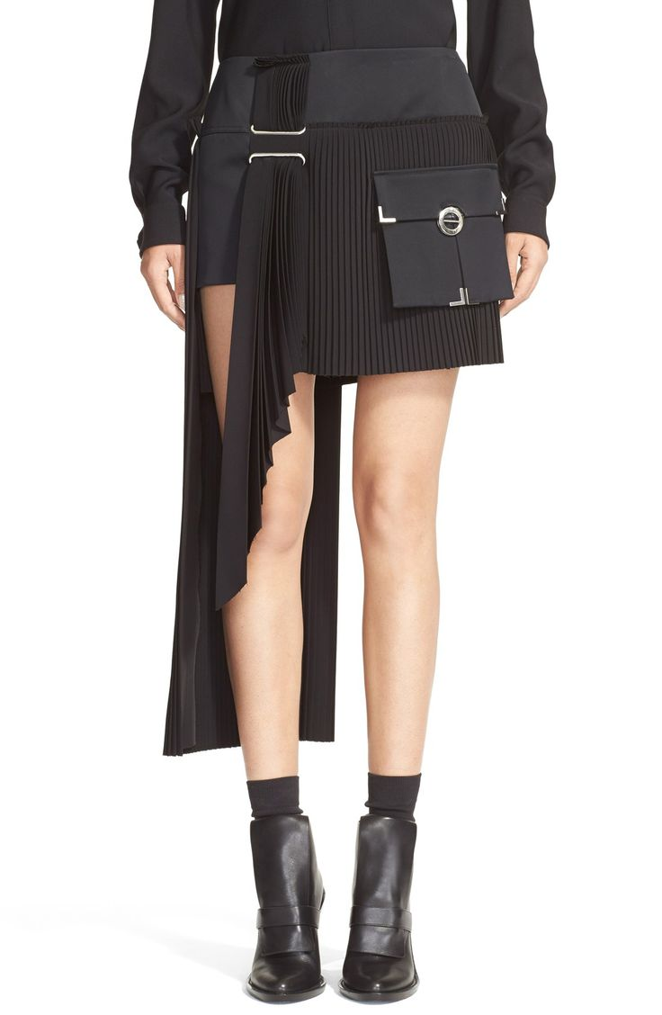 Women's Anthony Vaccarello Cargo Pocket Side Pleat Miniskirt