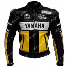 Yamaha 46 Yellow Black Biker Leather Jacket Men's