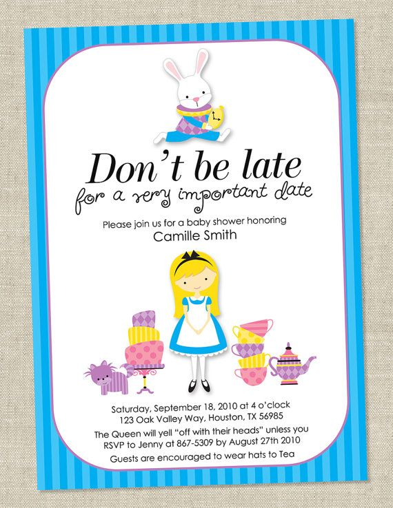 alice in wonderland invitations baby shower bridal shower invites
