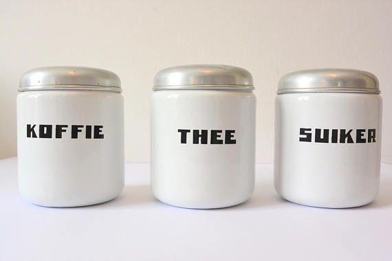 Art Deco emaille koffie suiker thee vaten set, aluminium deksels / glazuur opslag potten / dozen
