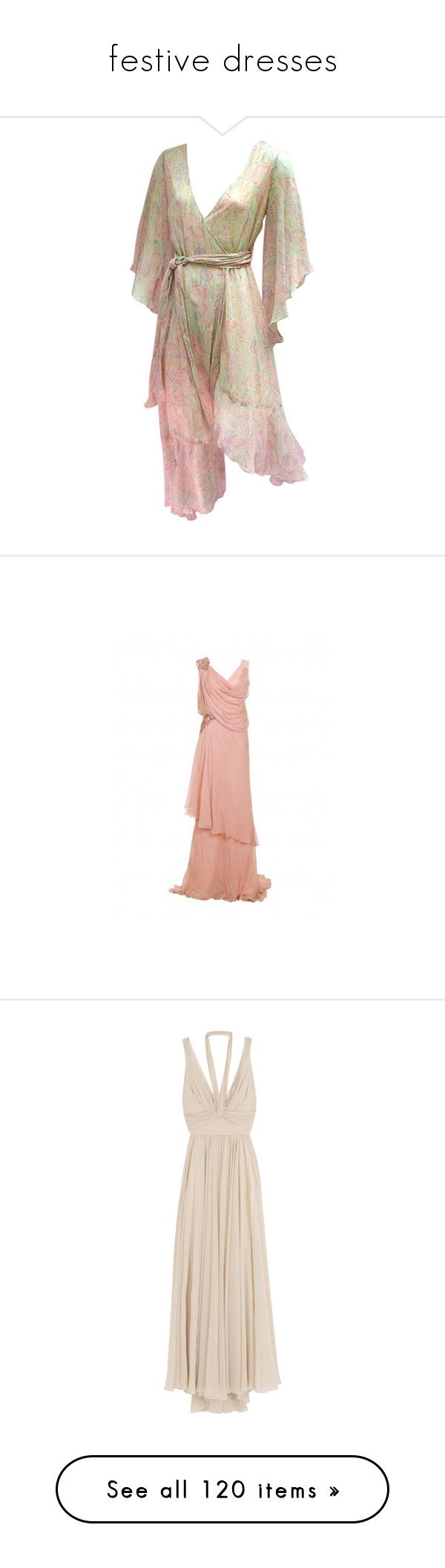 """""""festive dresses"""" by pantherinae on Polyvore featuring dress, dresses, festive, abiti, gown, wrap dress, brown wrap dress, boho chic dresses, brown dress and floral dresses"""