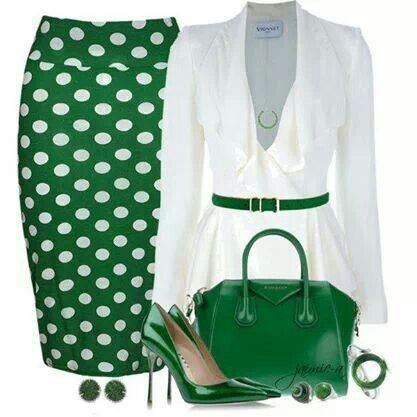 Green & white polka dot, easter maybe