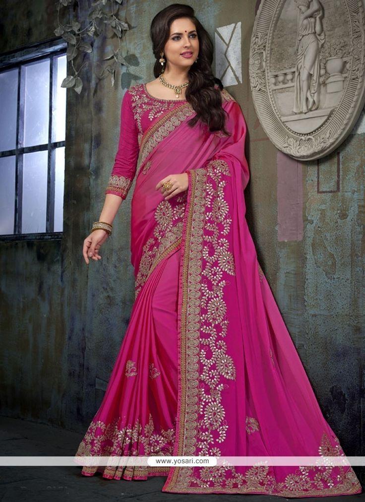Attractive Magenta Resham Work Chiffon Satin Designer Traditional Saree Model: YOSAR11682