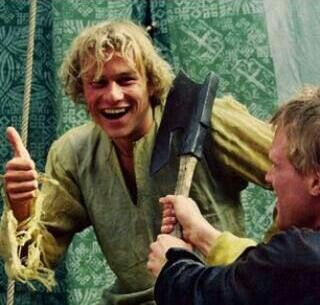 Heath and Paul Bettany on set of A Knight's Tale, 2000.