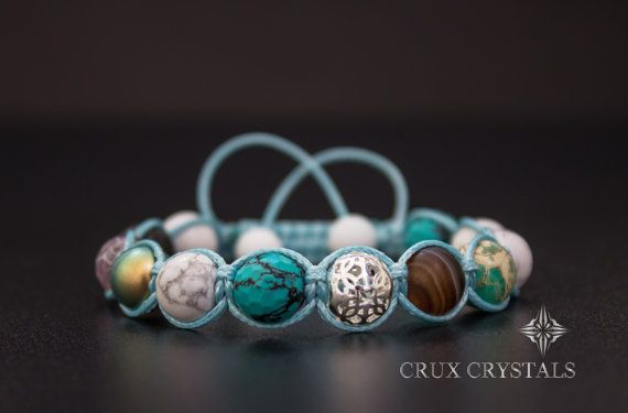 Oceanside Natural Stone Shamballa Bracelet Crux by CruxCrystals