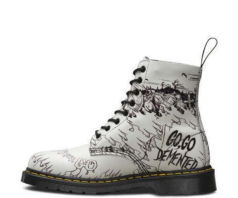 8 Eye Demented Are Go (Go, Go Demented) Dr. Martens Boots  I don't know the band but these shoes are sick!! i could do something like this with my own (if i ever get a pair of doc martens :l)