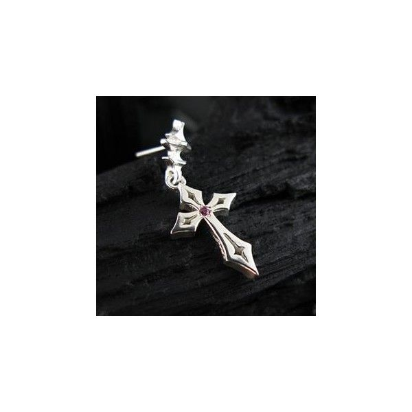 Hand Made Cross Pink Sapphire Single Earring ($35) ❤ liked on Polyvore featuring jewelry, earrings, accessories, pink sapphire earrings, pink sapphire jewelry, crucifix jewelry, earring jewelry and cross earrings