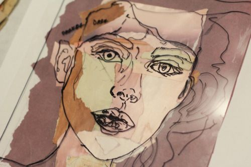 Trace a face from a magazine onto acetate. Paint or collage colors underneath for a new/abstract face.
