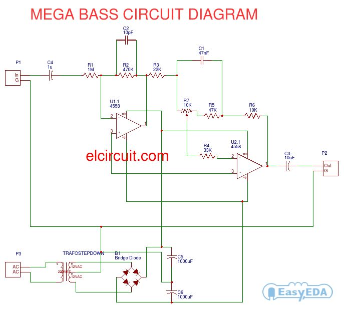 mega bass circuit using 4558 hubby project pinterest circuit Start Capacitor Wiring mega bass circuit using 4558 hubby project pinterest circuit circuit diagram and diy electronics
