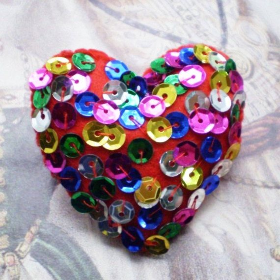 Disco Fever- Felt Heart Brooch
