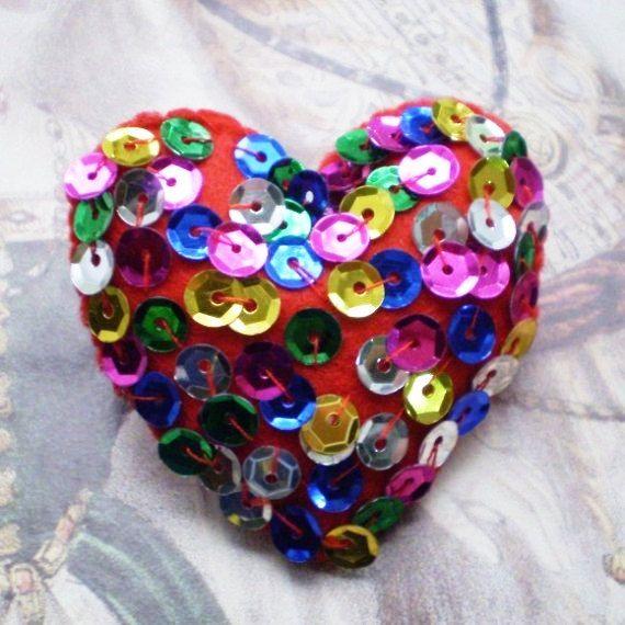 Disco Fever- Felt Heart Brooch
