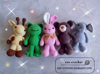 #crochet, amigurumi, free pattern, Animal Friends by Zan Crochet, #haken, gratis patroon (Engels en Nederlands), 5 dieren: giraf, kikker, konijn, beer, olifant, knuffel, speelgoed, tashanger, sleutelhanger, #haakpatroon