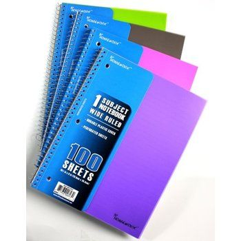 1-Subject Poly Cover Spiral Notebook. Bulk wholesale school supplies.