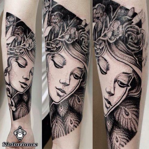 #tattoo #girl #blackworkers #flowers #portrait #tatuaż @malarianos