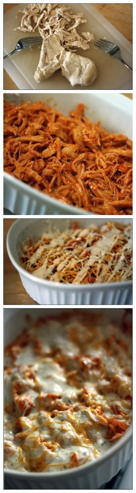 Buffalo Chicken Dip Recipe Ingredients 1 pound of boneless skinless chicken breast 1 Bottle of Franks Red Hot sauce (12 oz. or 1.5 cups) 8 oz container of cream cheese 1 cup Mexican cheese b...