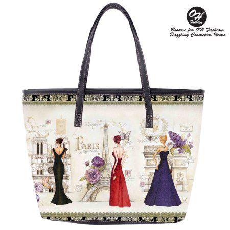 OH Fashion Women Tote Glamourous Paris PU Leather, Travel, Beach, Big Handbag , makeup organizer Retro & Vintage Blue Paris, Women's