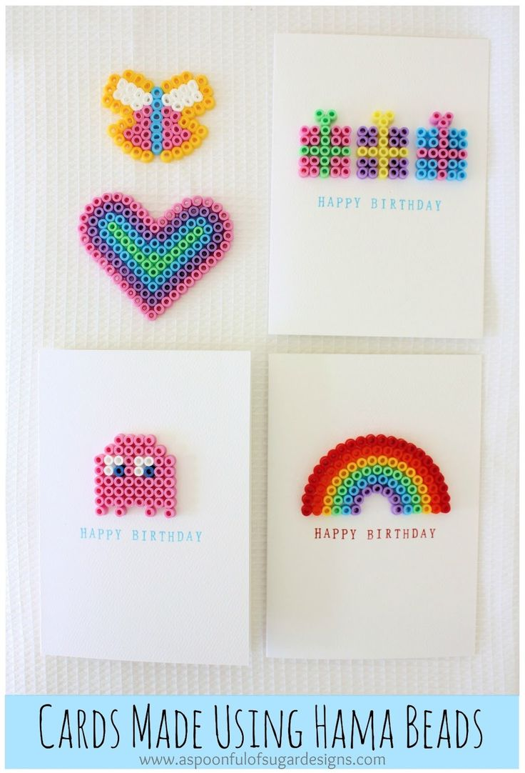 Cards made using hama beads