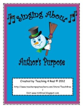 FREE...Help your students understand Author's Purpose with this fun song set to the tune of Frosty the Snowman.