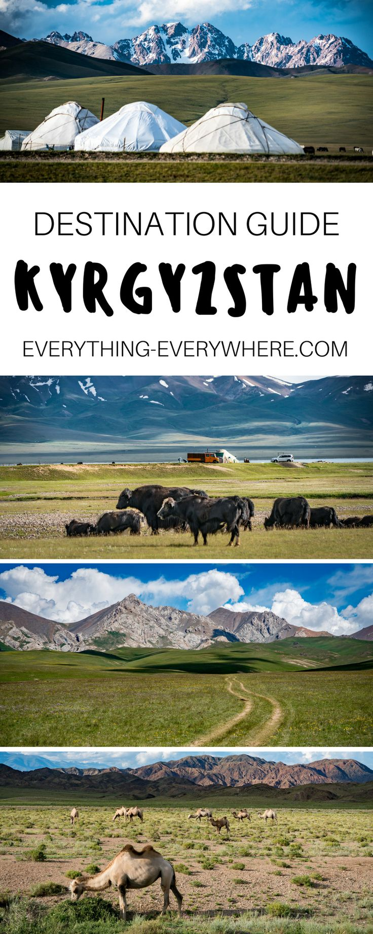 Kyrgyzstan is a Central Asian country that's bordered by China. Relatively unknown by travelers and untouched by tourism (for now), Kyrgyzstan is a great destination for those looking for an isolated and off-the-beaten path travel experience. Culturally diverse and home to beautiful mountains, lakes and scenery, Kyrgyzstan is also great for budget travelers as it provides incredible value for money. | Everything Everywhere Destination Guide #Kyrgyzstan #Asia
