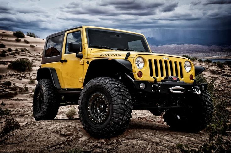 Yellow Jeep Wrangler w/ Weld B57 wheels