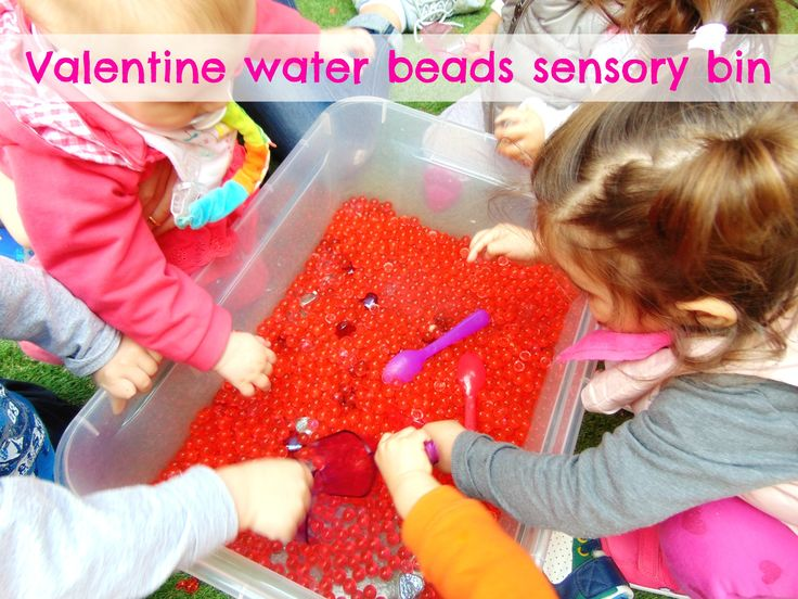 For our valentine water bead sensory bin we added red water beads & some hearts! Our babies and toddlers had to discover the hearts hidden inside & scoop them out! Needless to say that squishing  them was the best part!!!