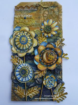 New Beginning.. a space to create.. Chase your passion...follow your bliss...: Extra Large Mixed Media Blue & Ochre Tag..