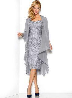 Robes de mère de la mariée - $121.30 - Forme Fourreau Bustier en coeur Au niveau du genou dentelle Robe de mère de la mariée avec dentelle (0085091391)
