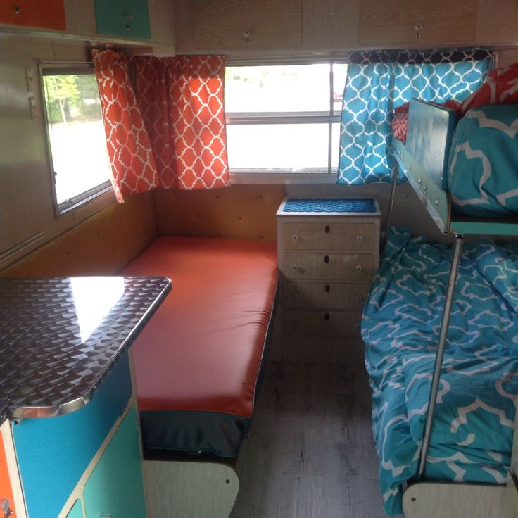 Wow Retro Home Fabrics sure do know how to refurbish this  1975 #Viscount #Ambassador #Caravan.  It's no ordinary #renovation.  A lot of thought & #design #expertise as gone into this little baby.  Look at the detail & colour combination s used to create a #holiday #space for the whole family.  New #leather #dinette #cushions and bed filled with premium quality new foam.  #Stainless #steel #table & bench tops. #Water proof #curtains & #coverings. #Aluminium detail on the edges, vinyl floors.