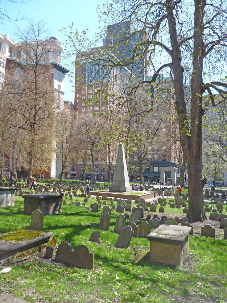 The Old Granary Burial Ground in Massachusetts is the city of Boston's third-oldest cemetery, founded in 1660 and located on Tremont Street. It is the final resting place for many notable Revolutionary War-era patriots, including Paul Revere, the five victims of the Boston Massacre, and three signers of the Declaration of Independence: Samuel Adams, John Hancock, and Robert Treat Paine.