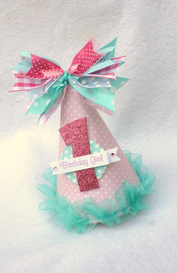 Sweet Pink and Aqua Party Hat with gingham by LittlePinkTractor, $13.50