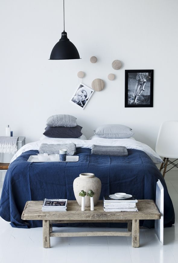 blue linen | bedroom