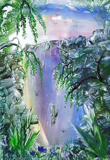 Encaustic waterfall