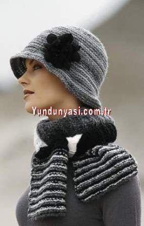 El Örgü Gri Siyah Atkı Şapka Takım İNSTAGRAM  :  @yun_dunyasi  WHATSAPP   :  0530 150 39 26