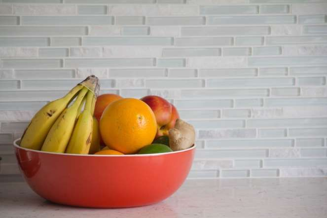 Maximize pantry and counter space - Not all produce should be refrigerated. Here are some items that should always be stored at room temperature, preferably not in direct sunlight: Bananas, Lemons, Limes , Mangos (in a brown bag) , Melons (in a brown bag) , Peaches (in a brown bag), Pears, Pineapples (upside down), Plums, If any of these items begin to ripen and you want to keep them around, place them in the fridge.