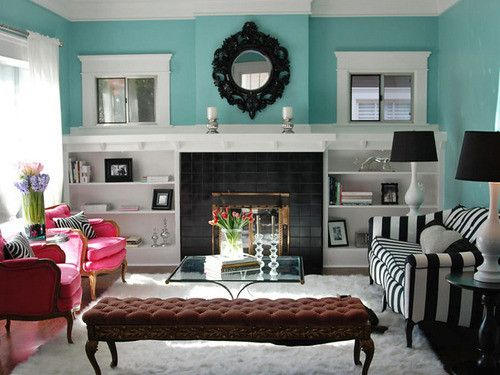 Turquoise, pink and black and white!  from Swoon Worthy: Living Rooms, Black And White, Blue Wall, Tiffany Blue, Wall Color, Tiffanyblue, Black White, Pink Chairs, Fireplace