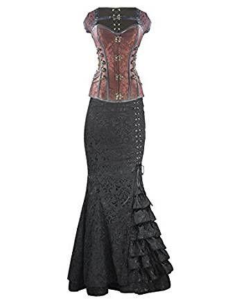 d7215a6daa9c5e Burvogue Damen Steampunk Gothic Corsage Kleid Lang Rock Corsagenkleid